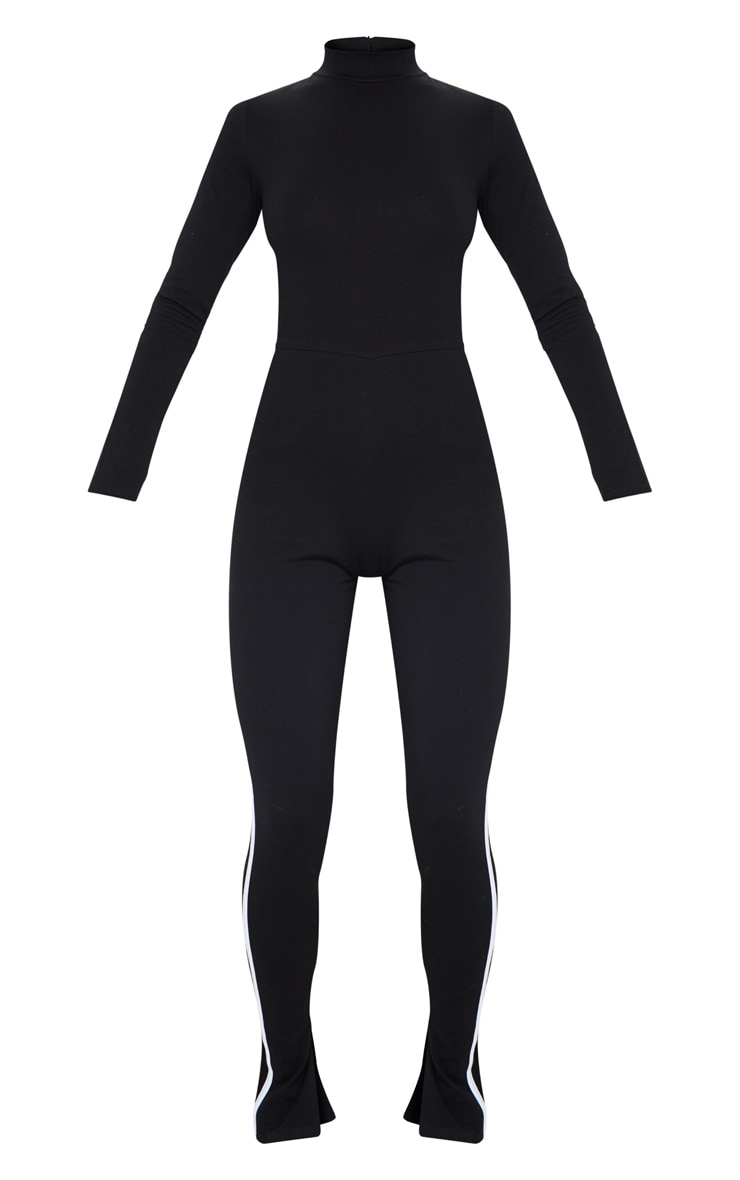 جمبسوت سوداء بياقة عالية مزينة بشريط رياضي بلون مُغاير 5