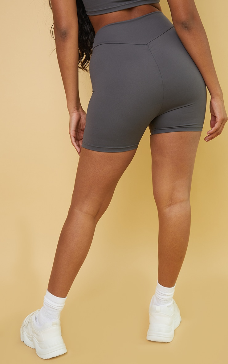 PRETTYLITTLETHING Charcoal Sport Cool Down Ruched Bum Booty Shorts 3