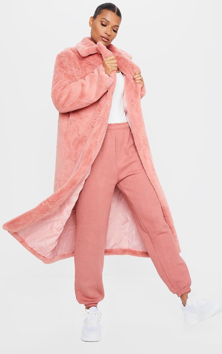 Pink Maxi Faux Fur Coat 1