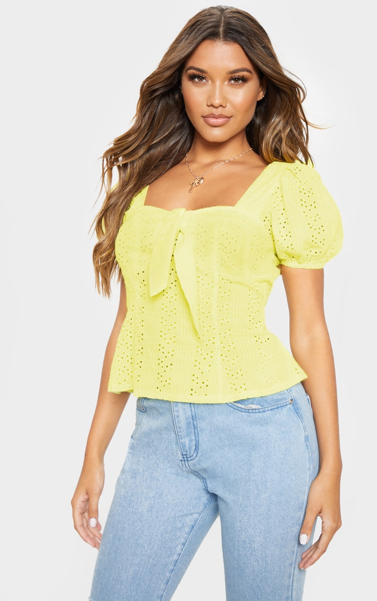 Lemon Broderie Anglaise Puff Sleeve Tie Front Top 1