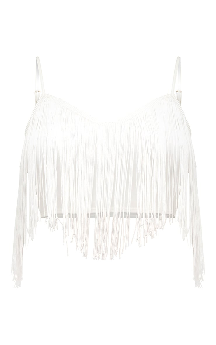 White Tassel Trim Crop Top 3