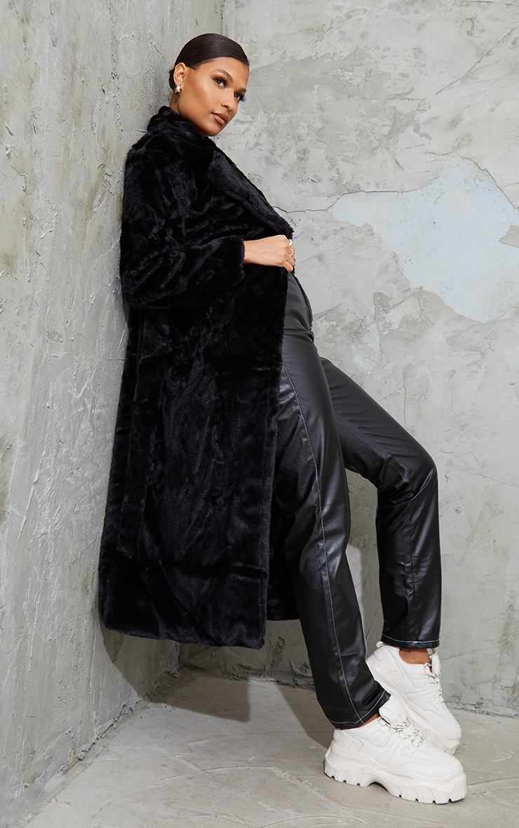 Black Belted Faux Fur Coat 3