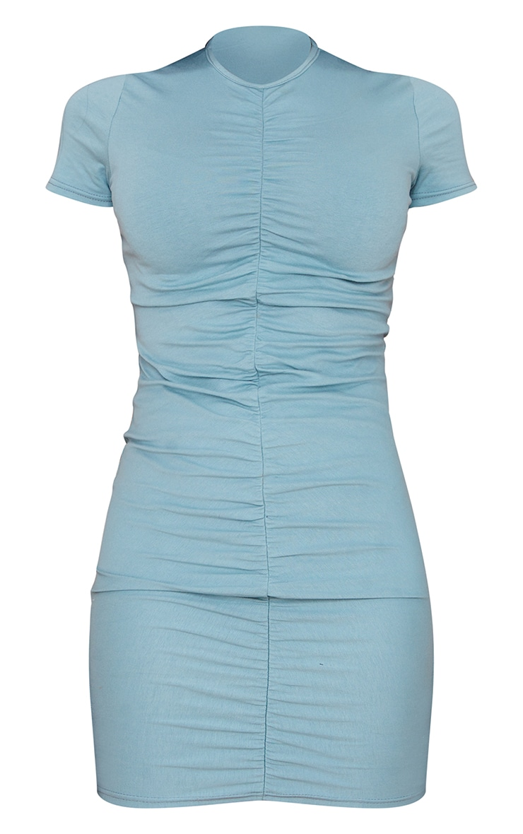 Mineral Blue Ruched Front T Shirt Dress 5