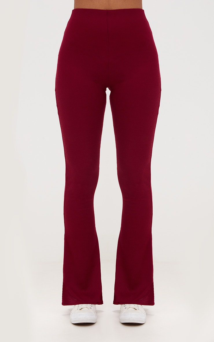 Burgundy Ribbed Flared Trousers 2