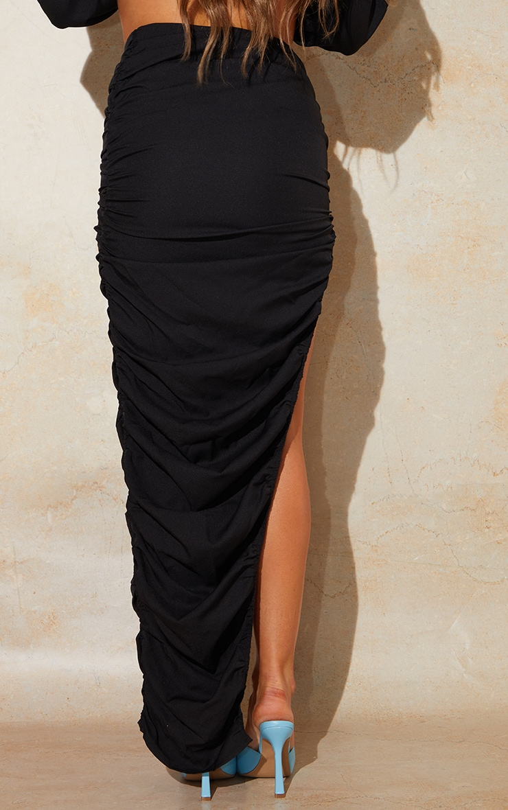 Black Woven Ruched Side Detail Split Leg Midaxi Skirt 3