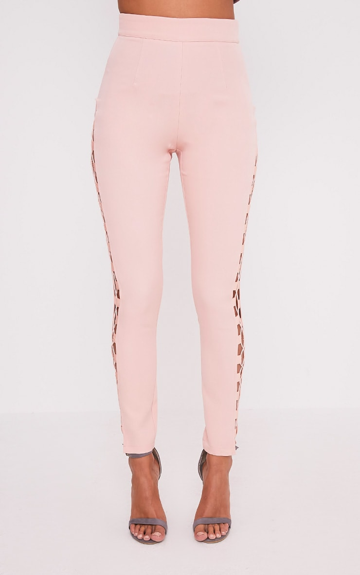 Anetta Dusty Pink Lace Up Side Skinny Trousers 2