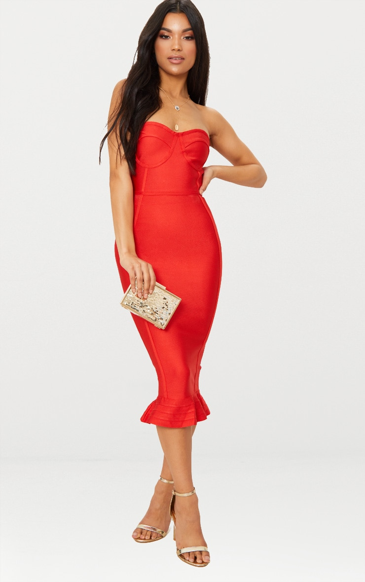 Red Bandage Frill Hem Midi Dress 1
