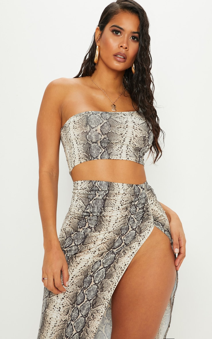 Stone Snake Print One Shoulder Crop Top 1