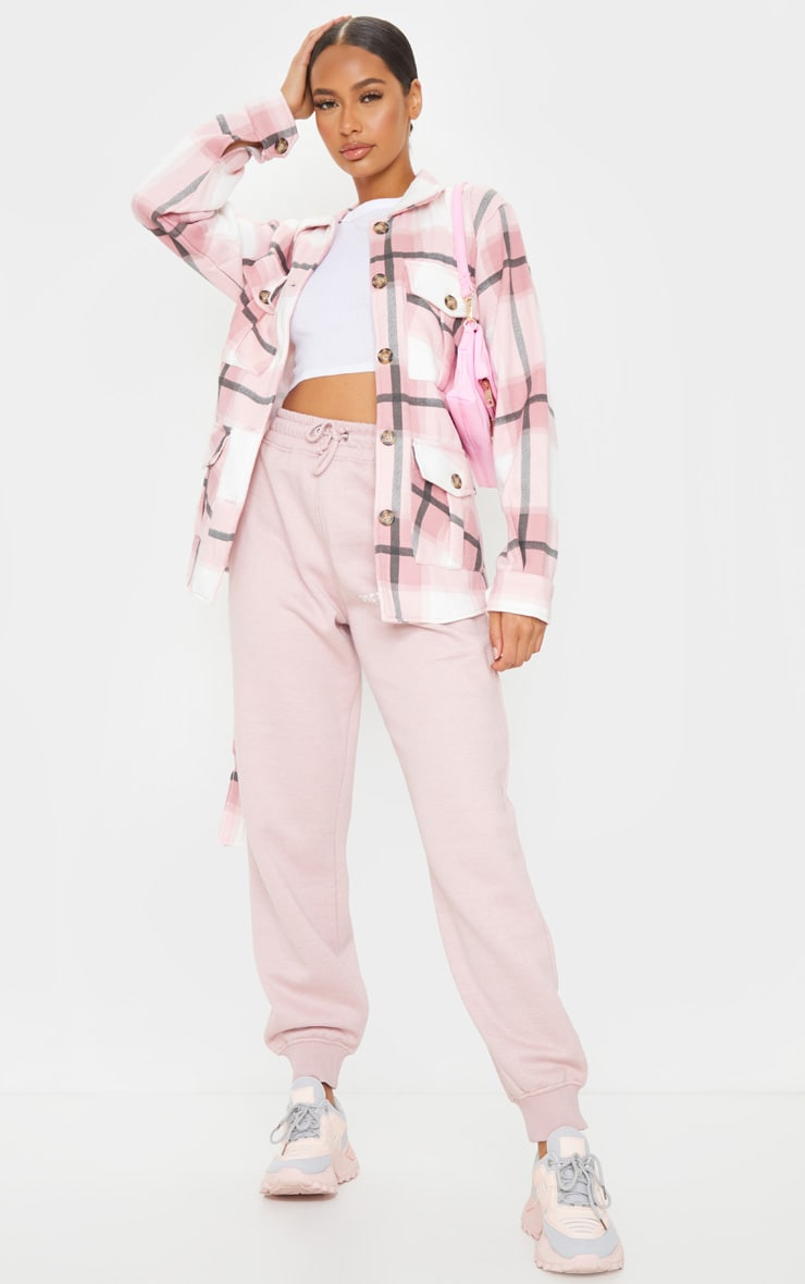 Pink Checked Belted Dipped Hem Shacket 3