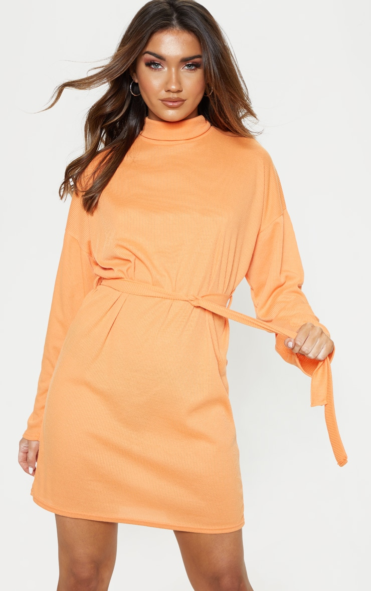 Orange Rib High Neck Batwing Sleeve Tie Waist Dress 4