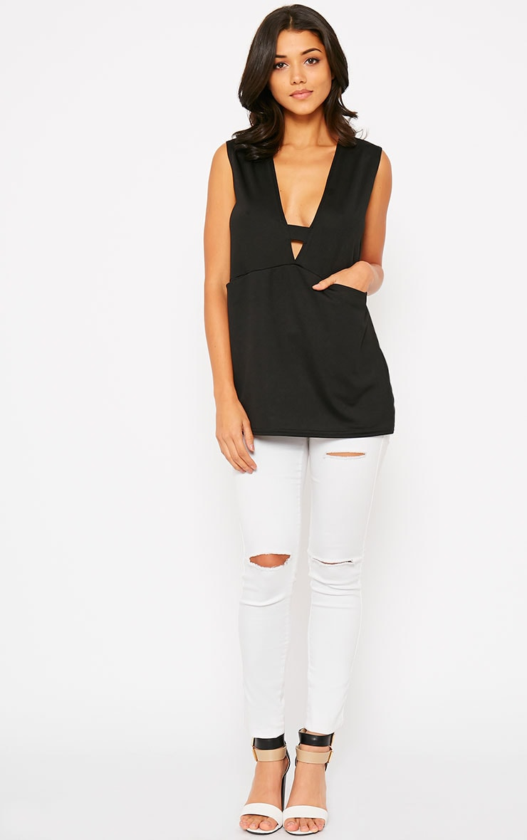 Summer Black Crepe A-Line Top  3