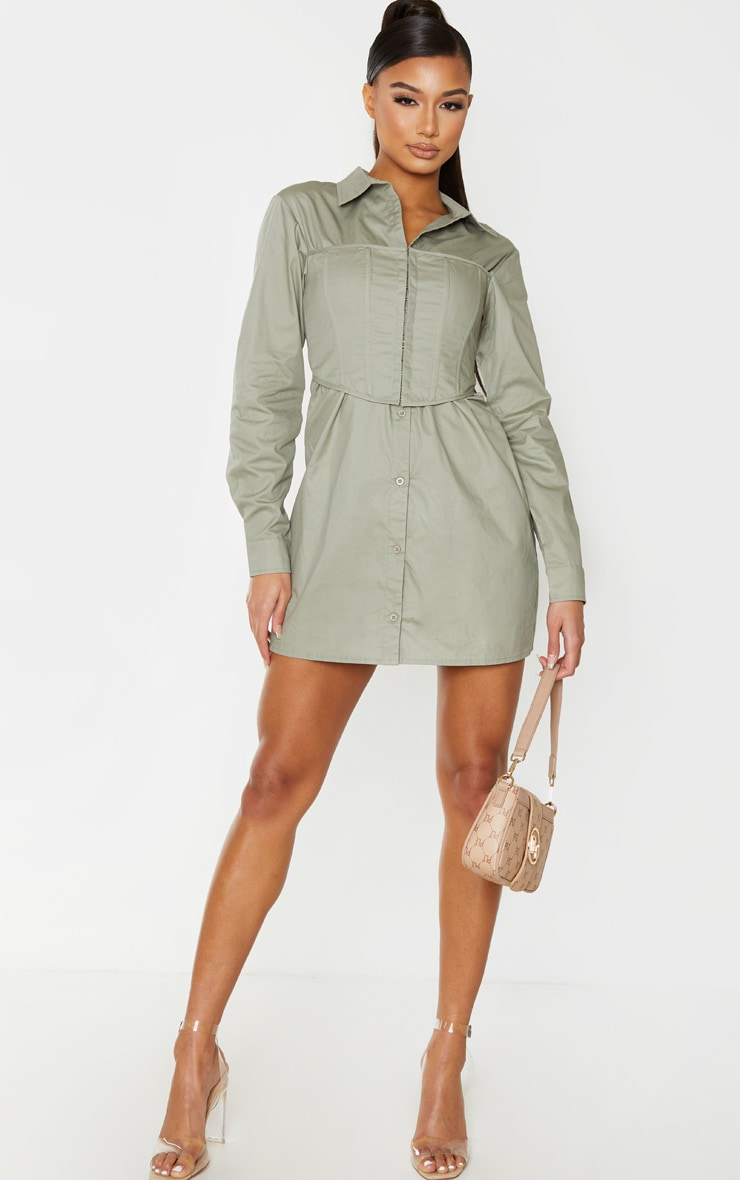 Sage Green Hook & Eye Corset Bust Shirt Dress 3