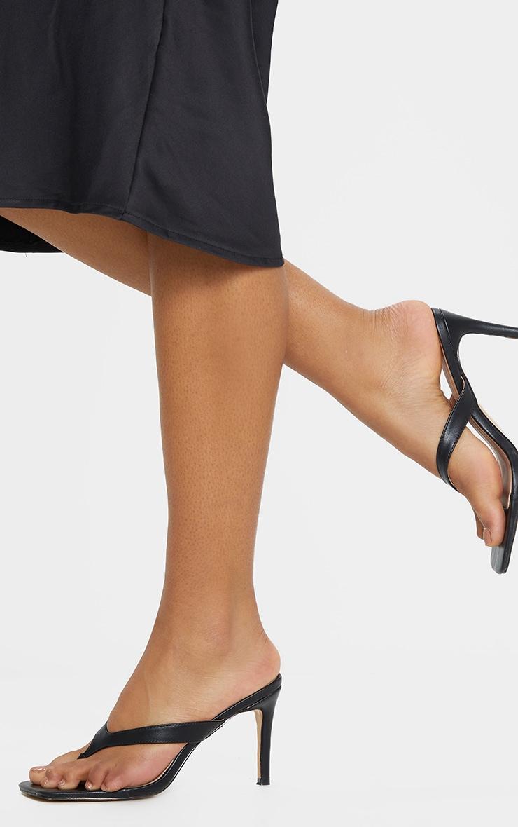 Black Toe Thong Mule Heel 1