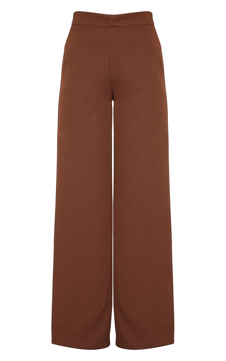 Chocolate High Waisted Woven Wide Leg Pants 5