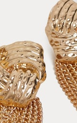 Gold Knotted Studs Chain Drop 3