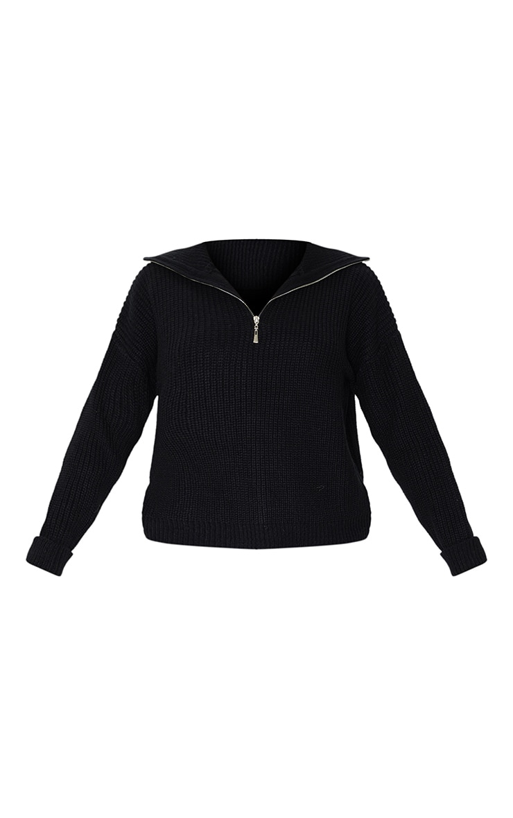 Black Zip Through Oversized Knitted Jumper 5