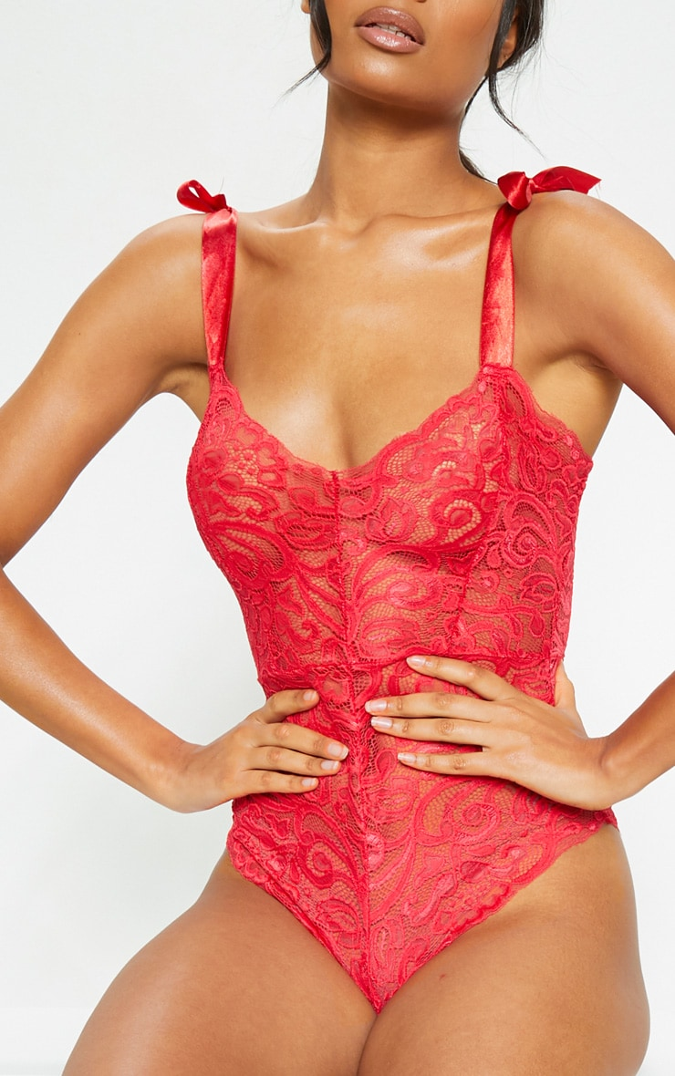 Red Tie Strap Lace Body 6