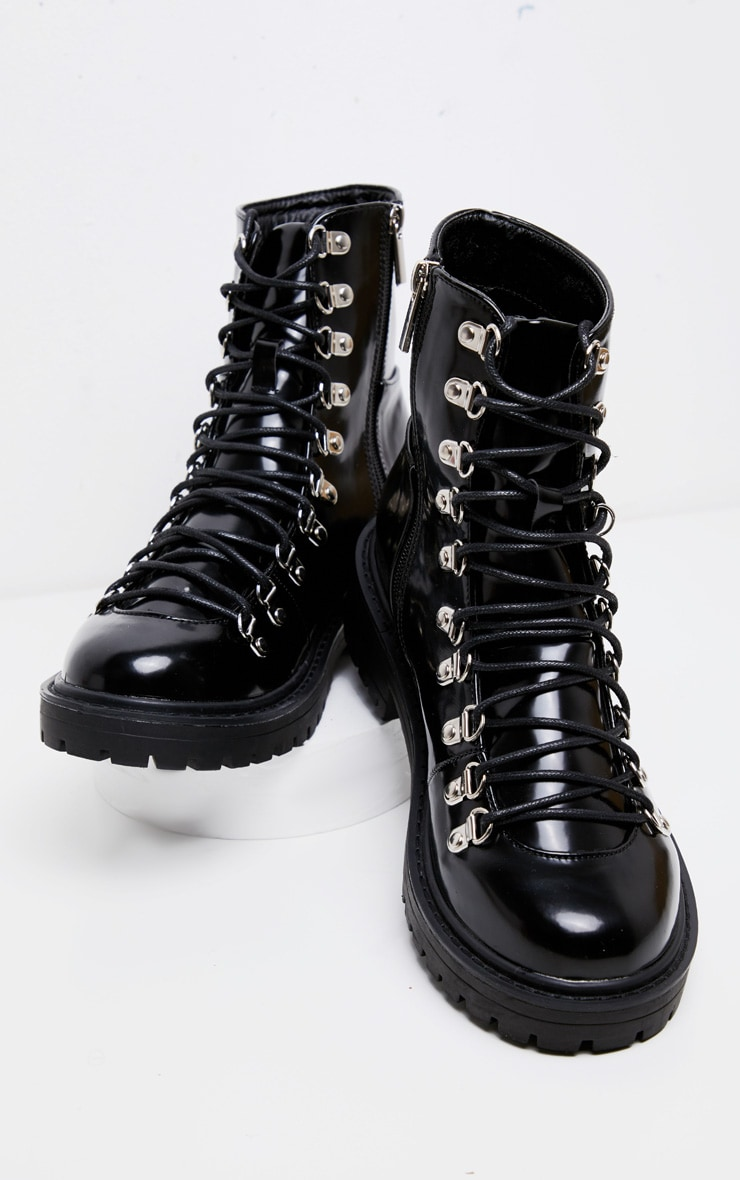 Black Cleated Sole Hiker Eyelet Ankle Boot 3
