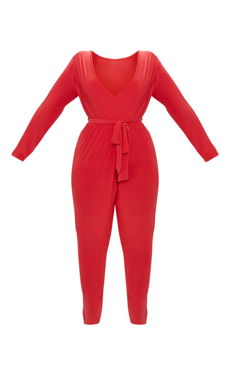 Plus Red Slinky Wrap Front Jumpsuit 3