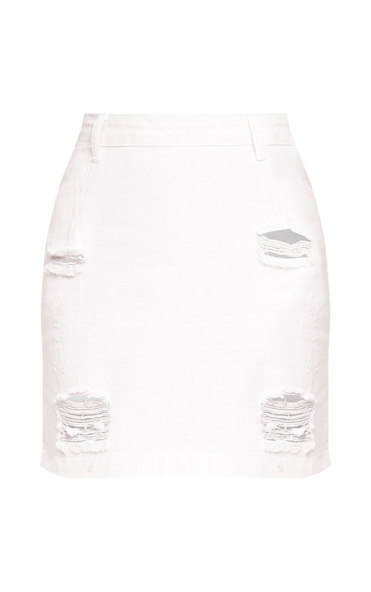 Roschian White Super Distress High Waisted Denim Mini Skirt  3