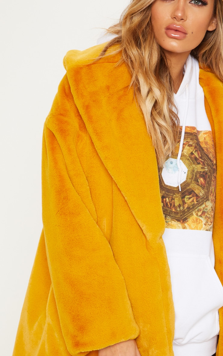 Mustard Midi Faux Fur Collar Coat 5