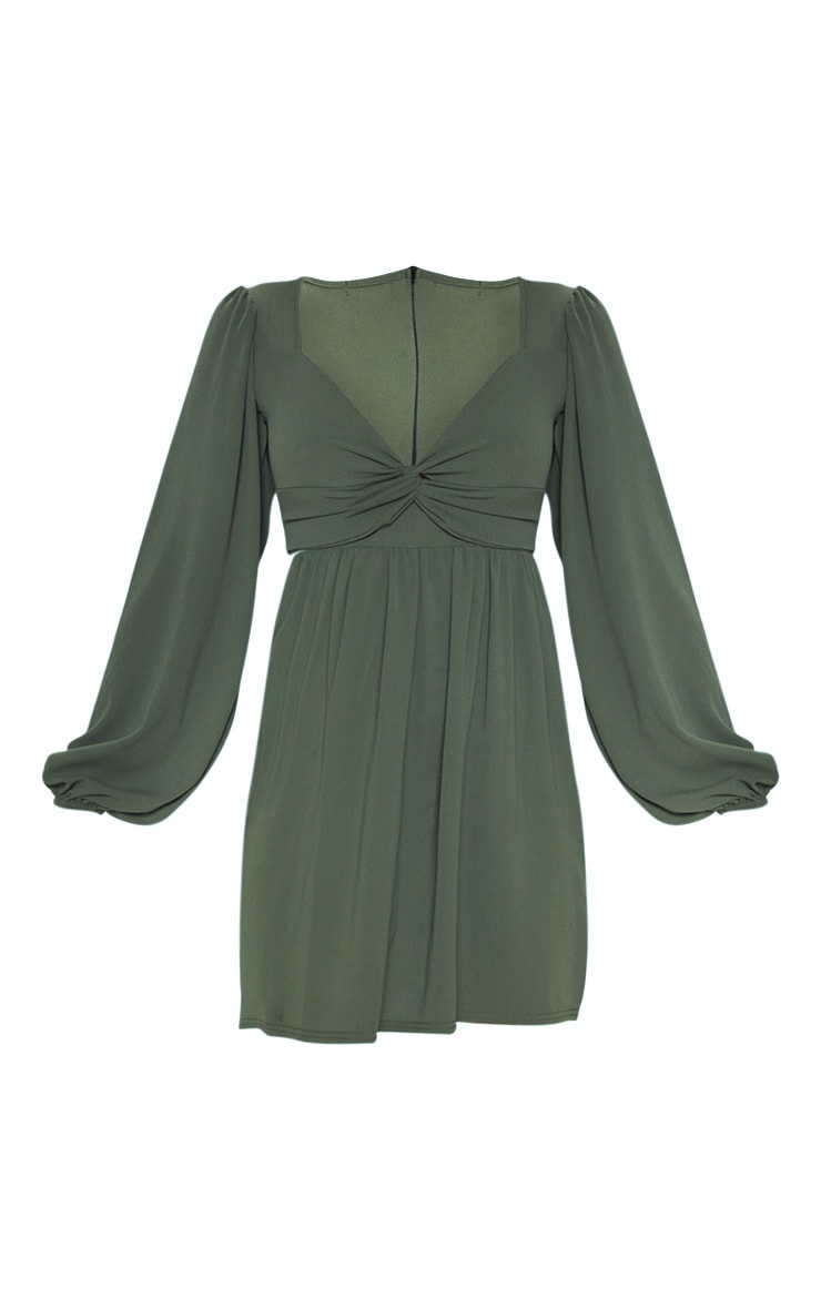 Khaki Twist Front Long Sleeve Square Neck Smock Dress 3