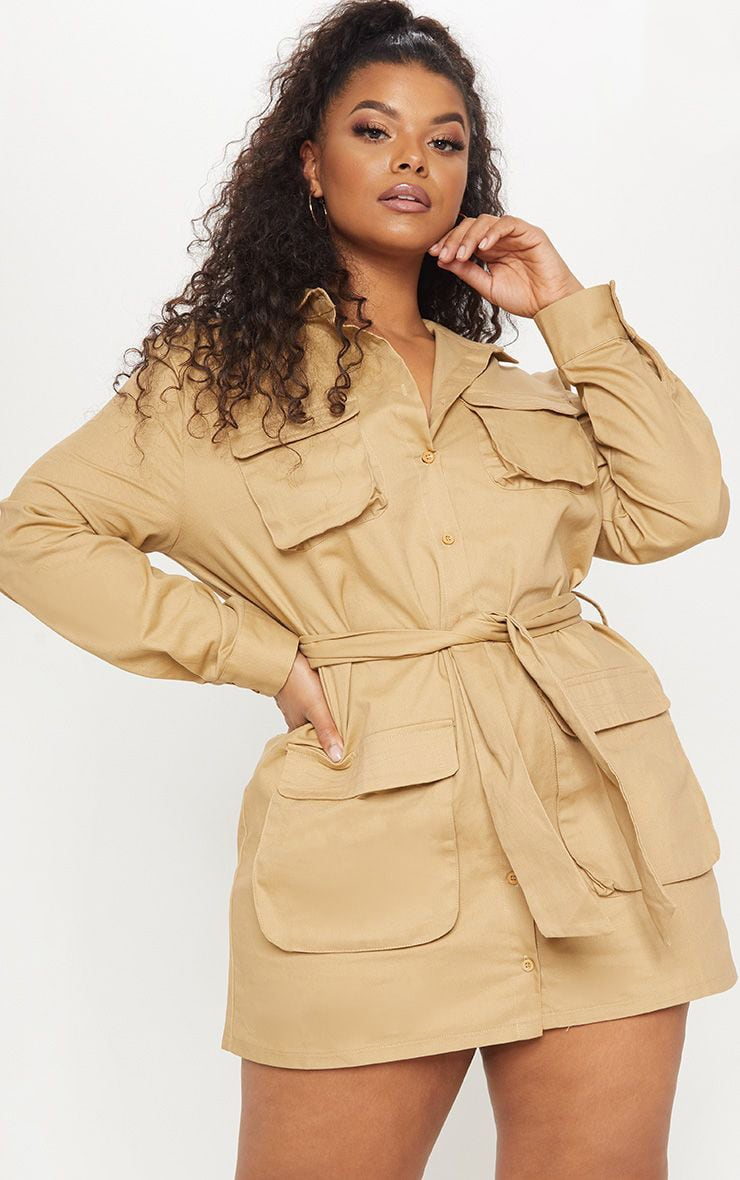 Plus Camel Utility Tie Waist Shirt Dress 1