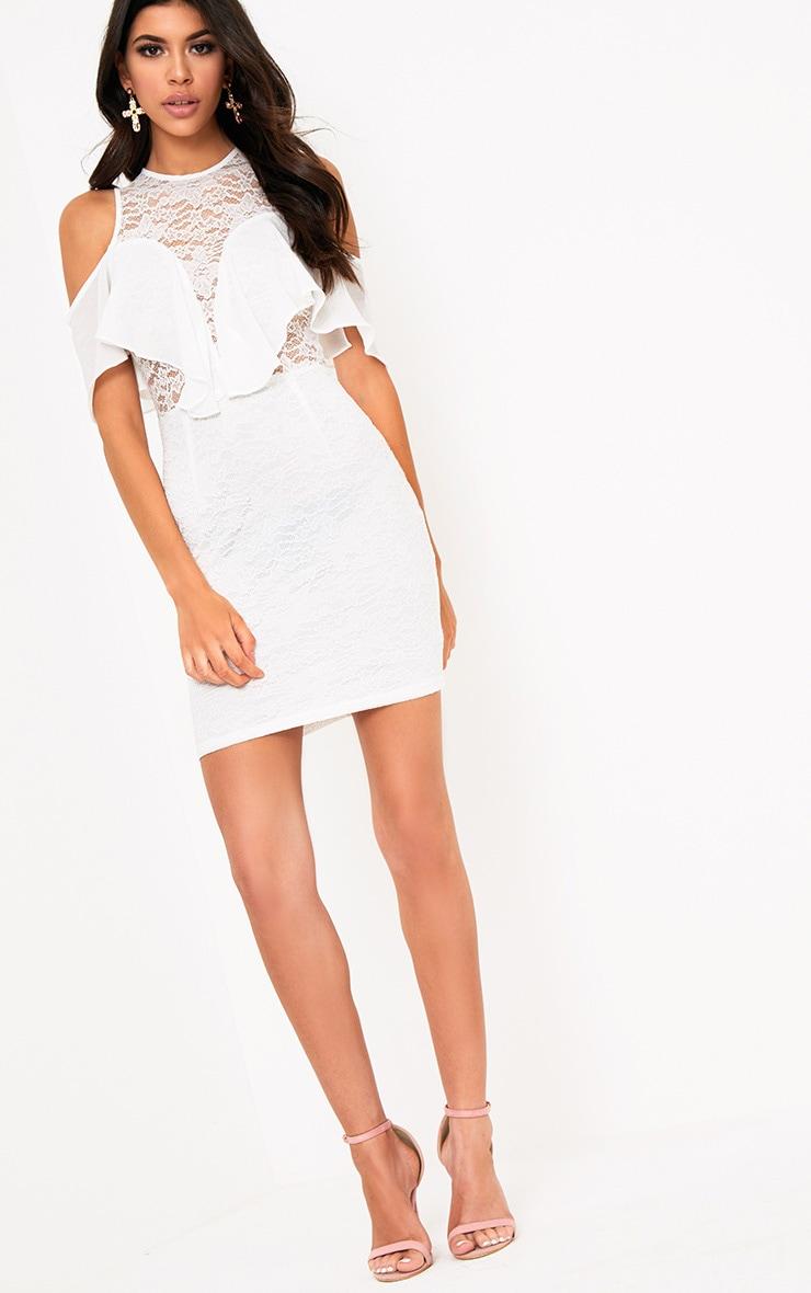 Esme White Lace Cold Shoulder Bodycon Dress 4