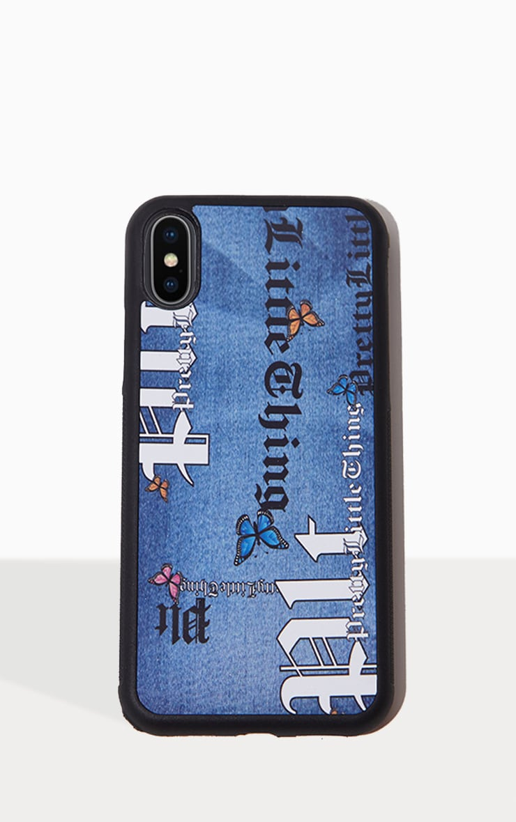 PRETTYLITTLETHING Blue Denim Look Butterfly Iphone 10/XS/X Phone Case 1