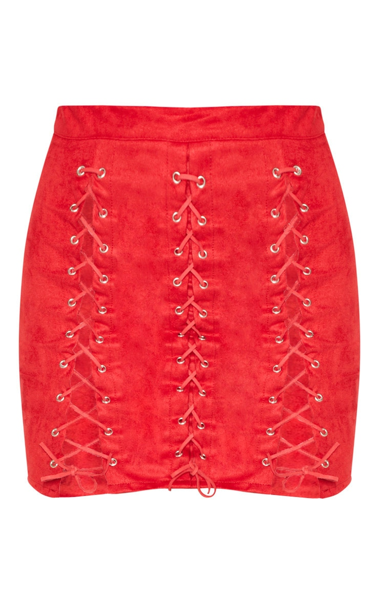 Red Faux Suede Lace Up Detail Mini Skirt 4