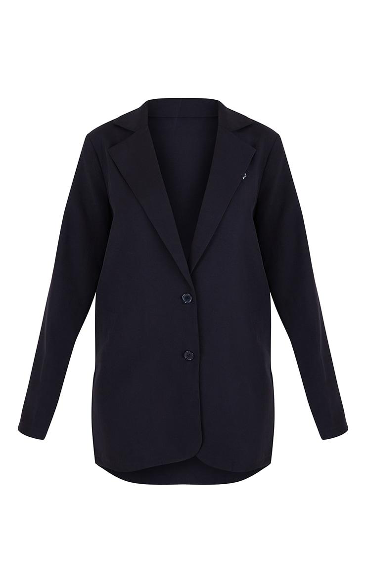 PRETTYLTTLETHING Black Badge Detail Woven Oversized Long Sleeve Button Front Blazer 5