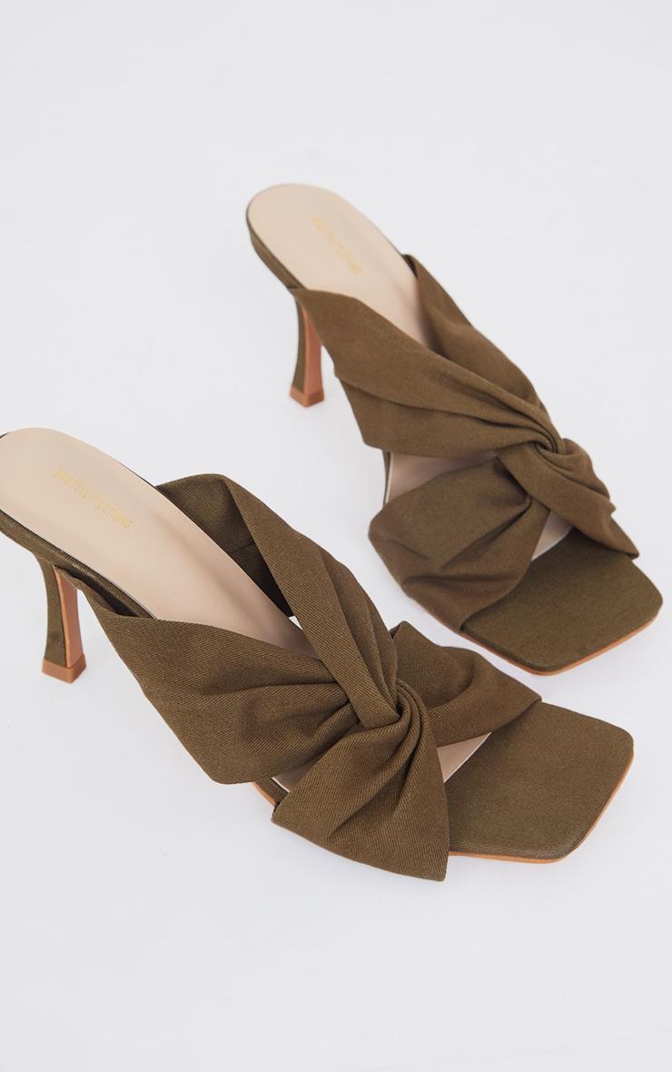 Pale Khaki Linen Twist Strap Mid Heel Mules 4