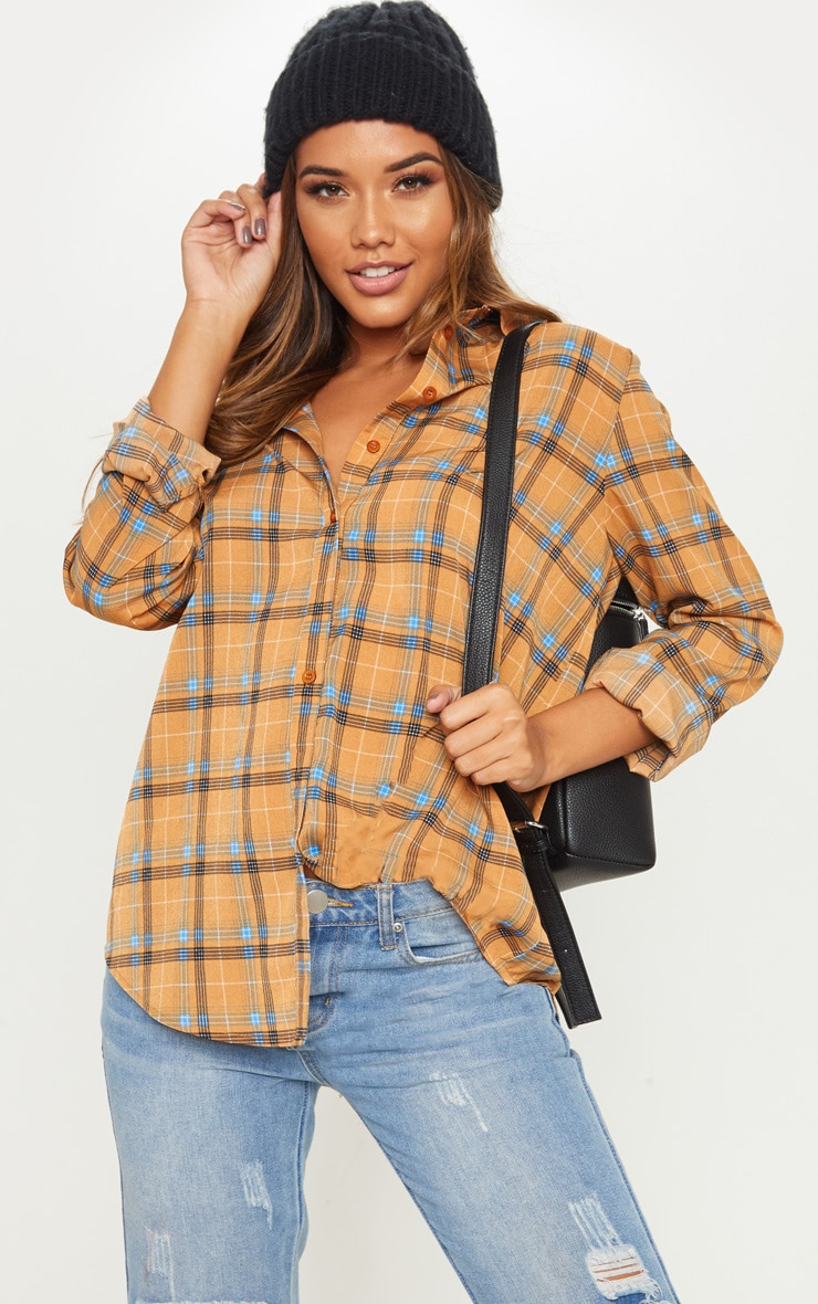 Mustard Check Oversized Shirt
