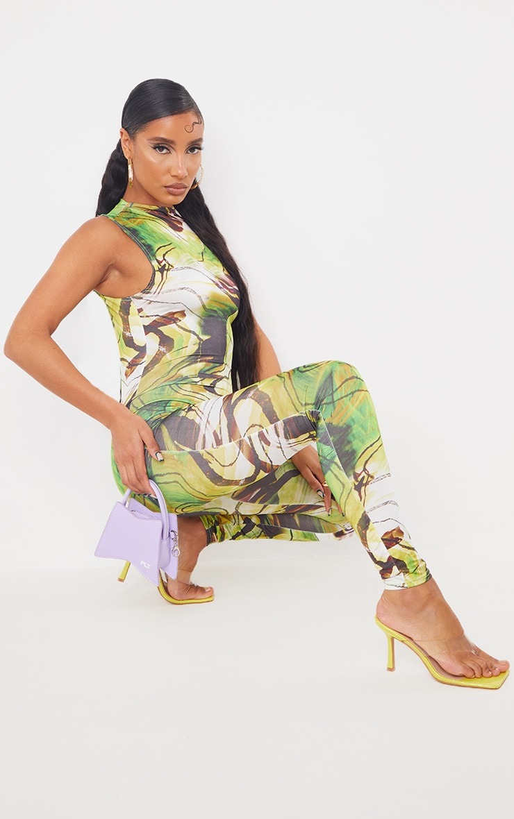 Green Marble Print High Neck Sleeveless Jumpsuit 3