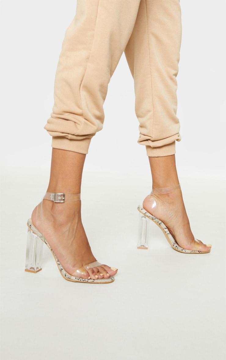 Snake Clear Block Heel Sandal 1