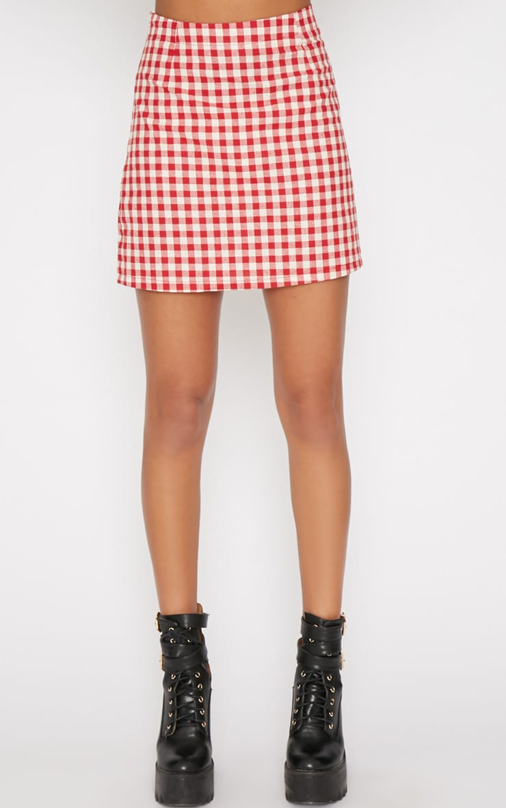 Maddie Red Checked Skirt 4