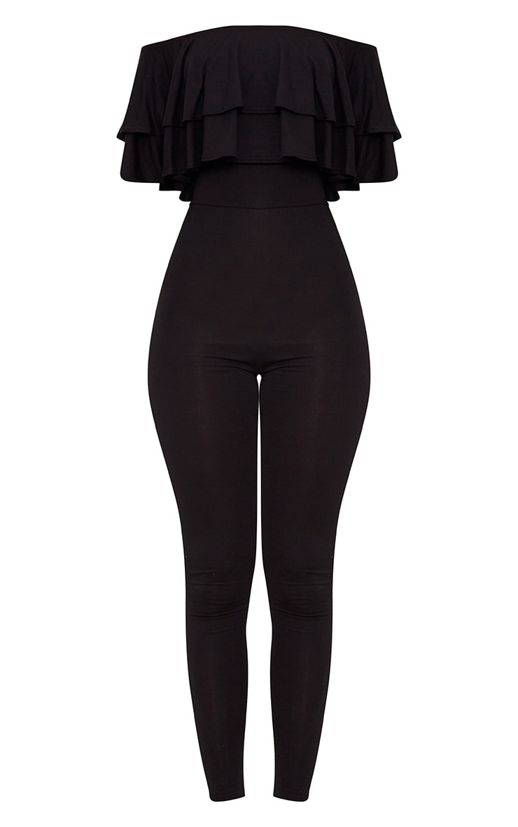 Black Jersey Double Frill Jumpsuit 3