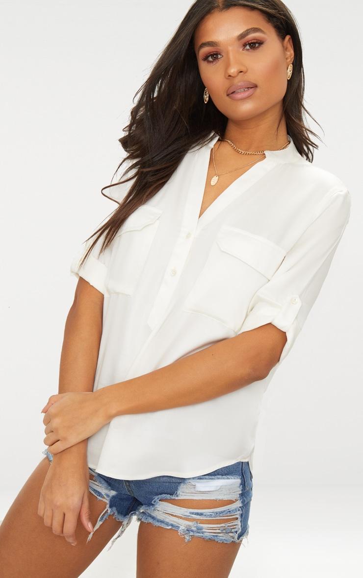 Cream Satin Pocket Front Loose Shirt  1