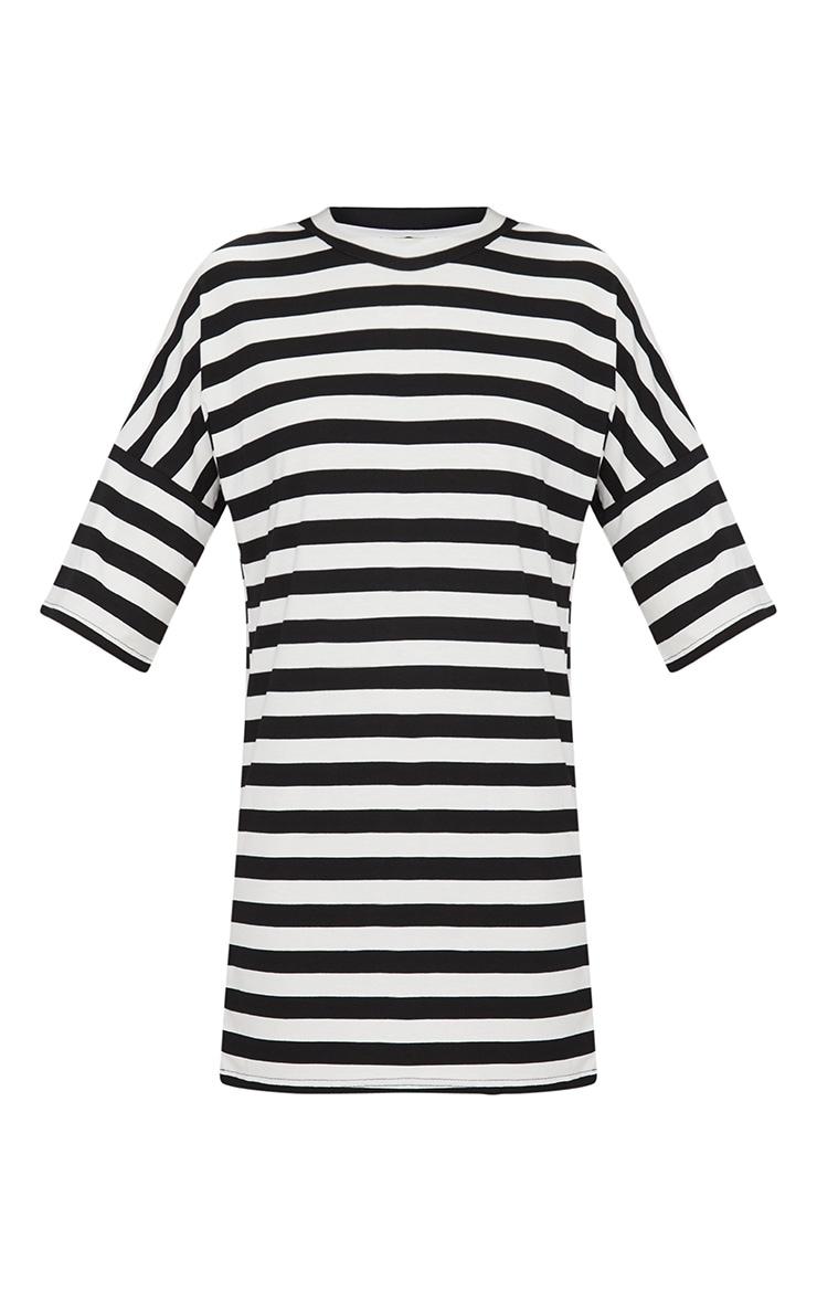Monochrome Oversized Stripe T-Shirt Dress 4