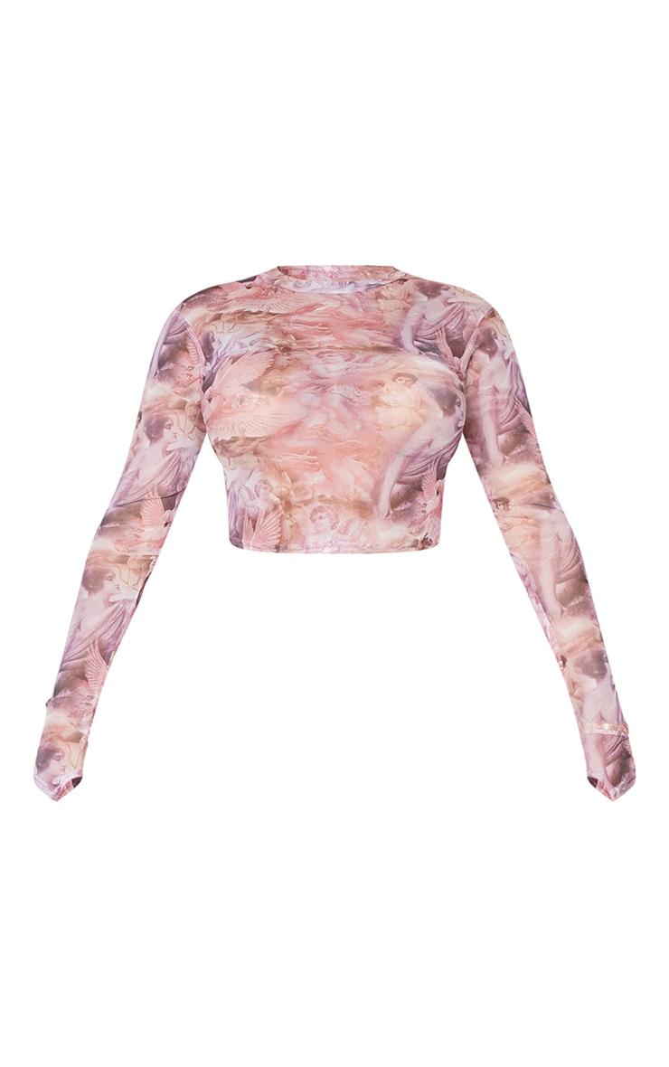 Shape Pink Renaissance Print Mesh Thumb Hole High Neck Top 5