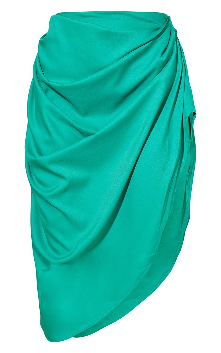 Bright Green Ruched Side Midi Skirt 5