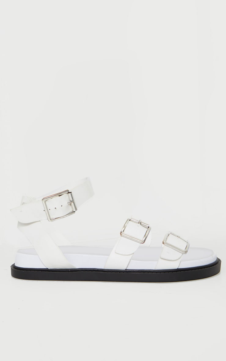 White PU Square Buckle Detail Sandals 3