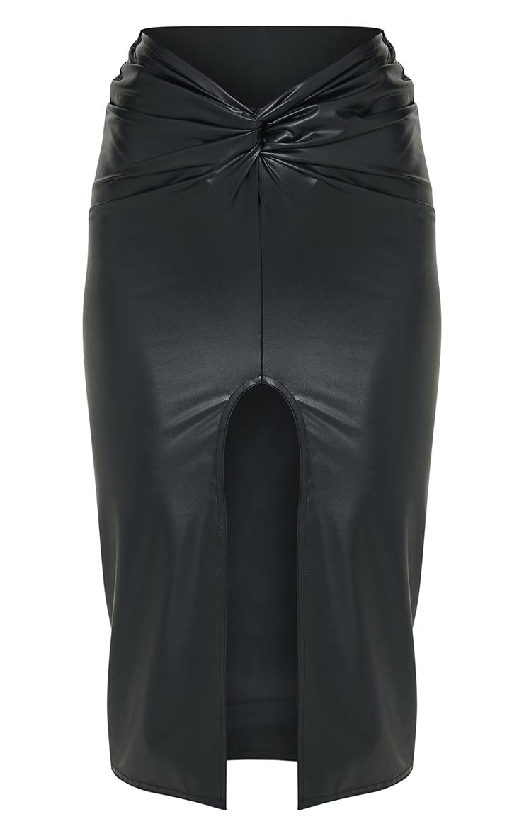 Black Faux Leather Twist Front Midi Skirt 5