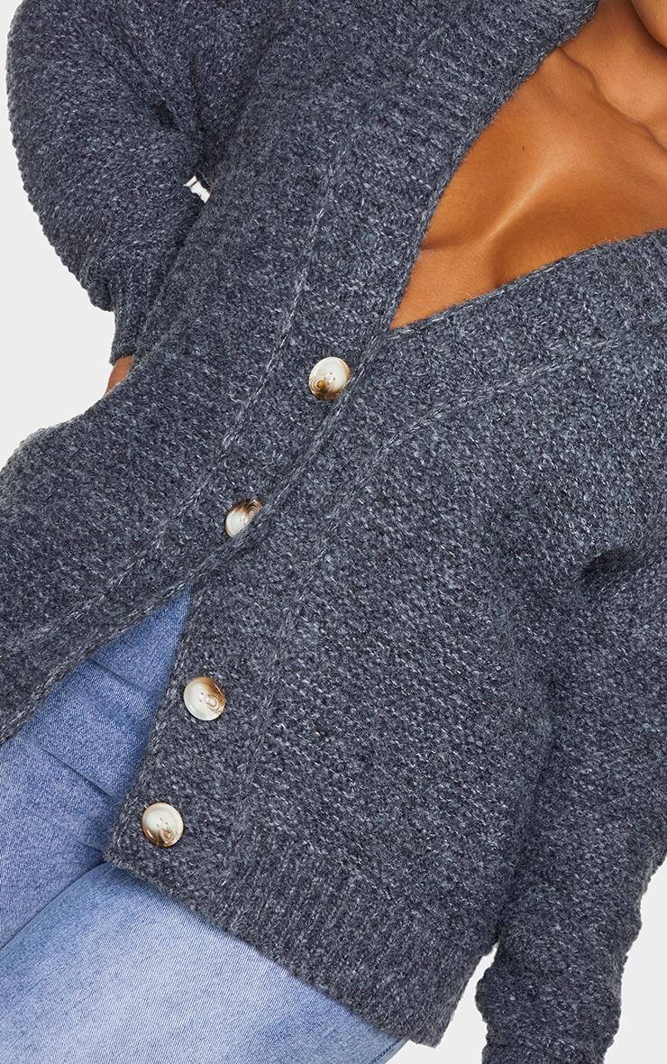 Plus Black Rib Collar Oversized Cardigan 4