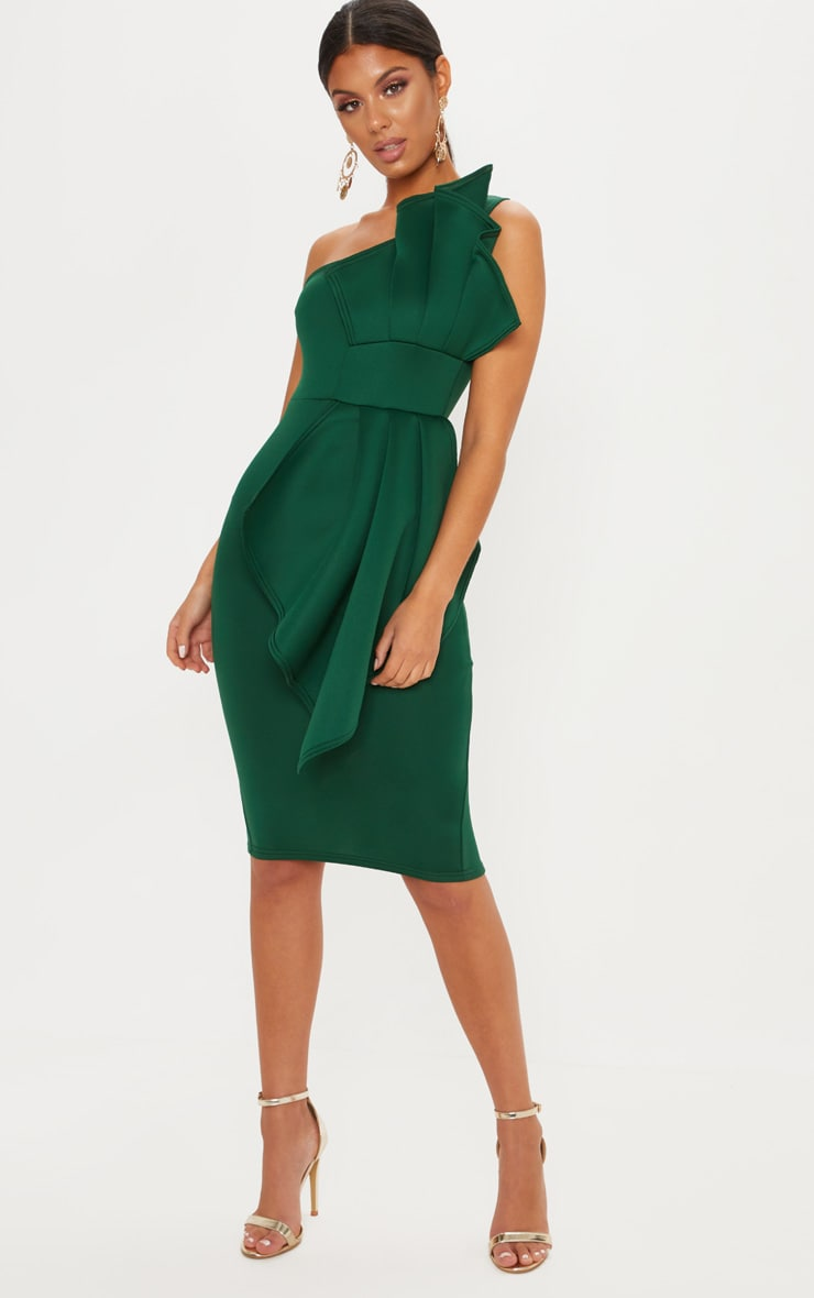 Emerald Green One Shoulder Pleated Detail Midi Dress 1
