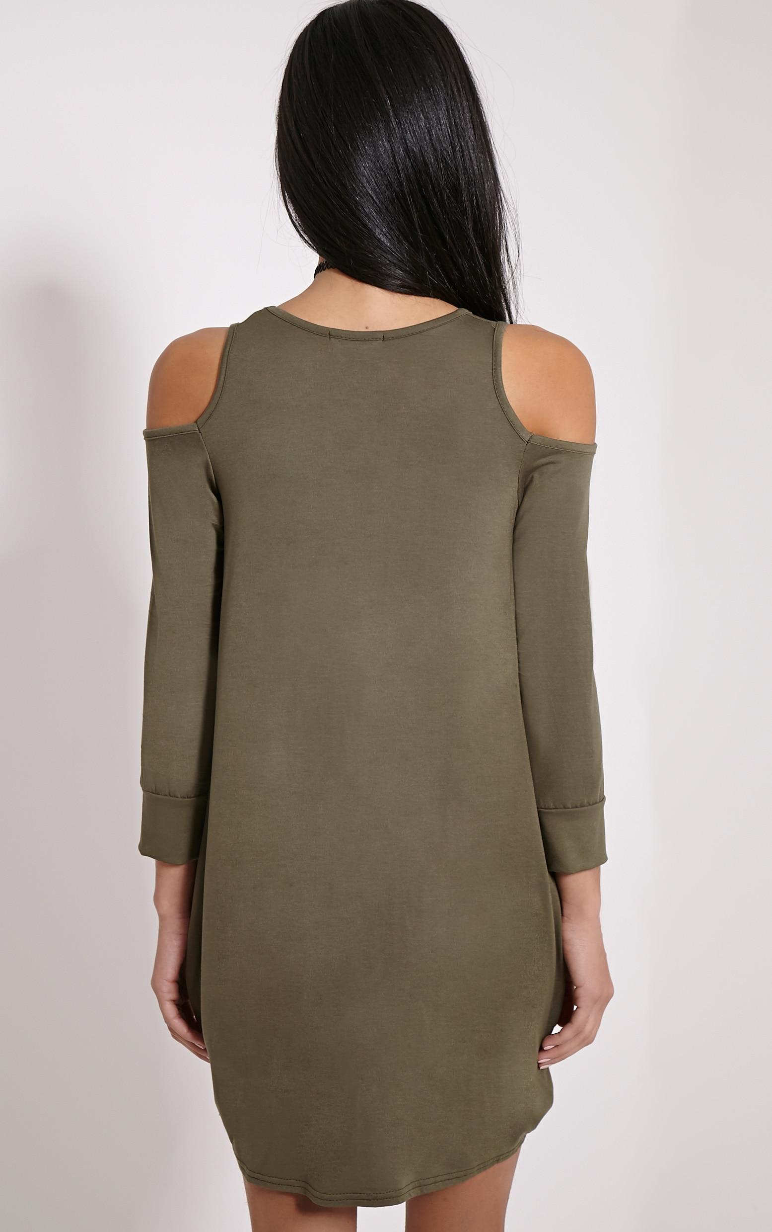 Bronywn Khaki Cut Out Shoulder Dress 2