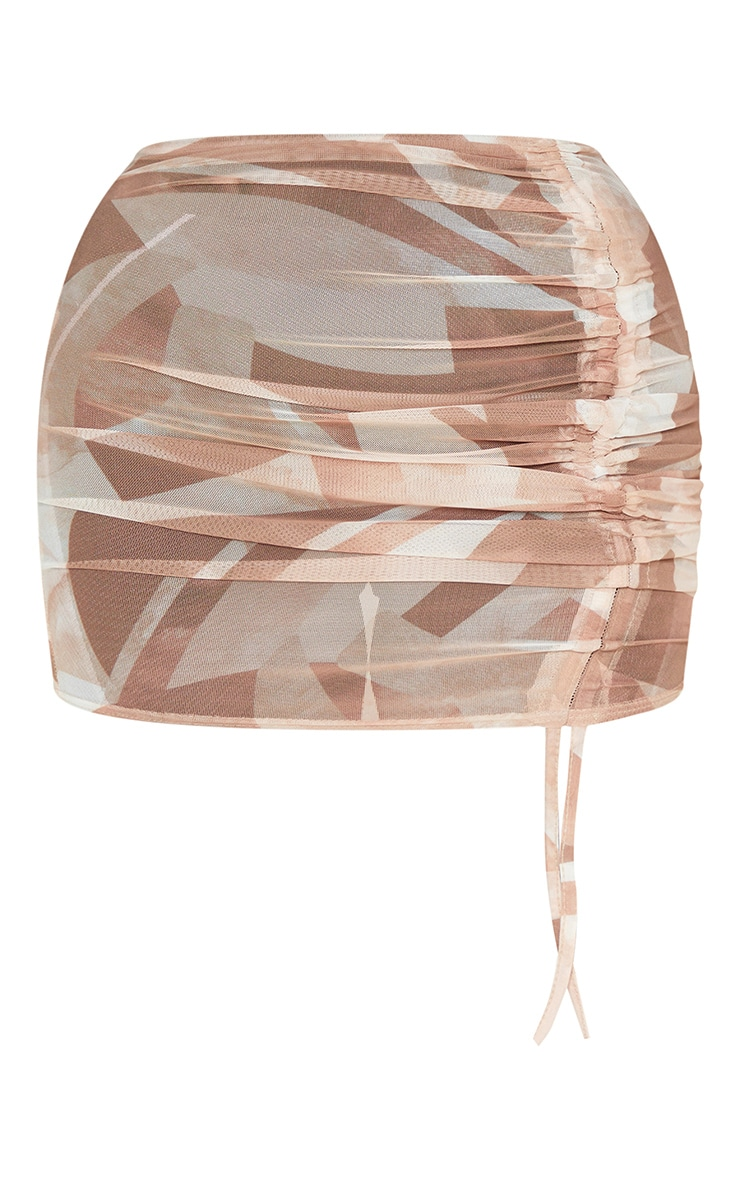 Stone Abstract Print Mesh Ruched Mini Skirt 3