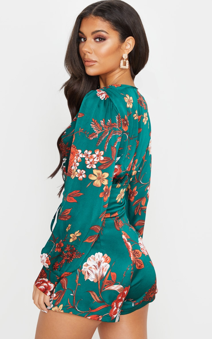 Emerald Green Floral Print Lace Up Long Sleeve Playsuit 2