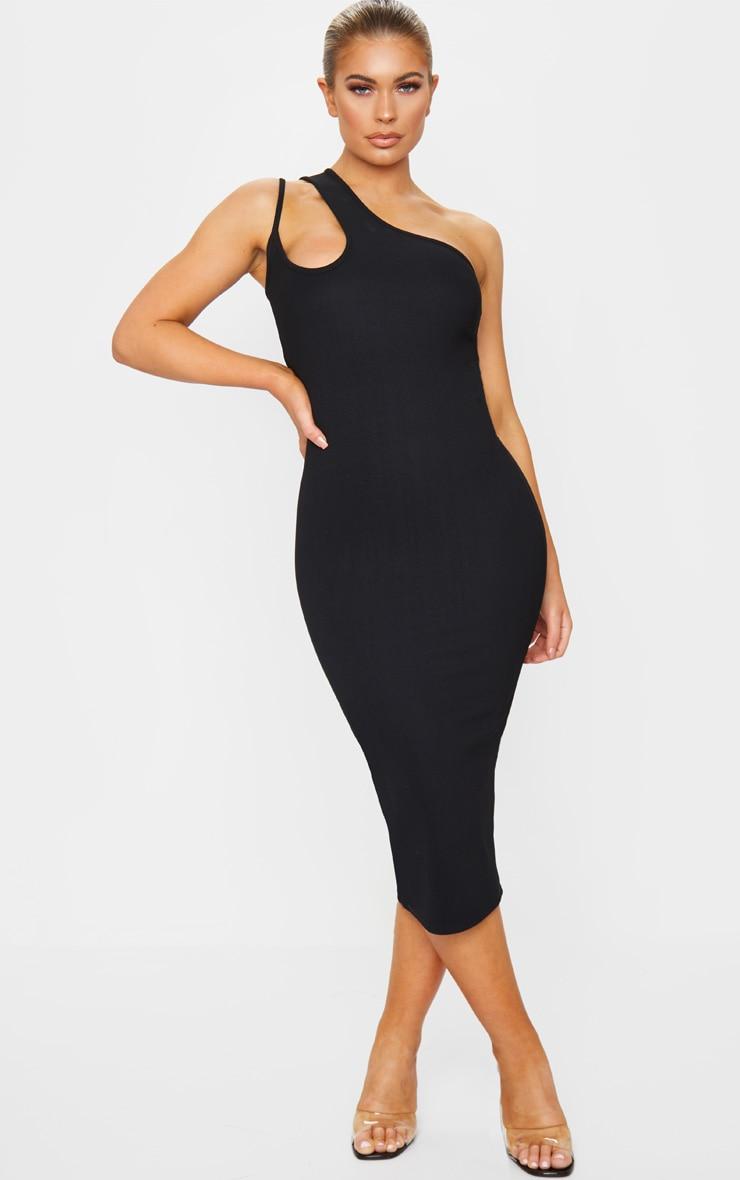 Black Bandage Rib Asymmetric One Shoulder Midi Dress 1