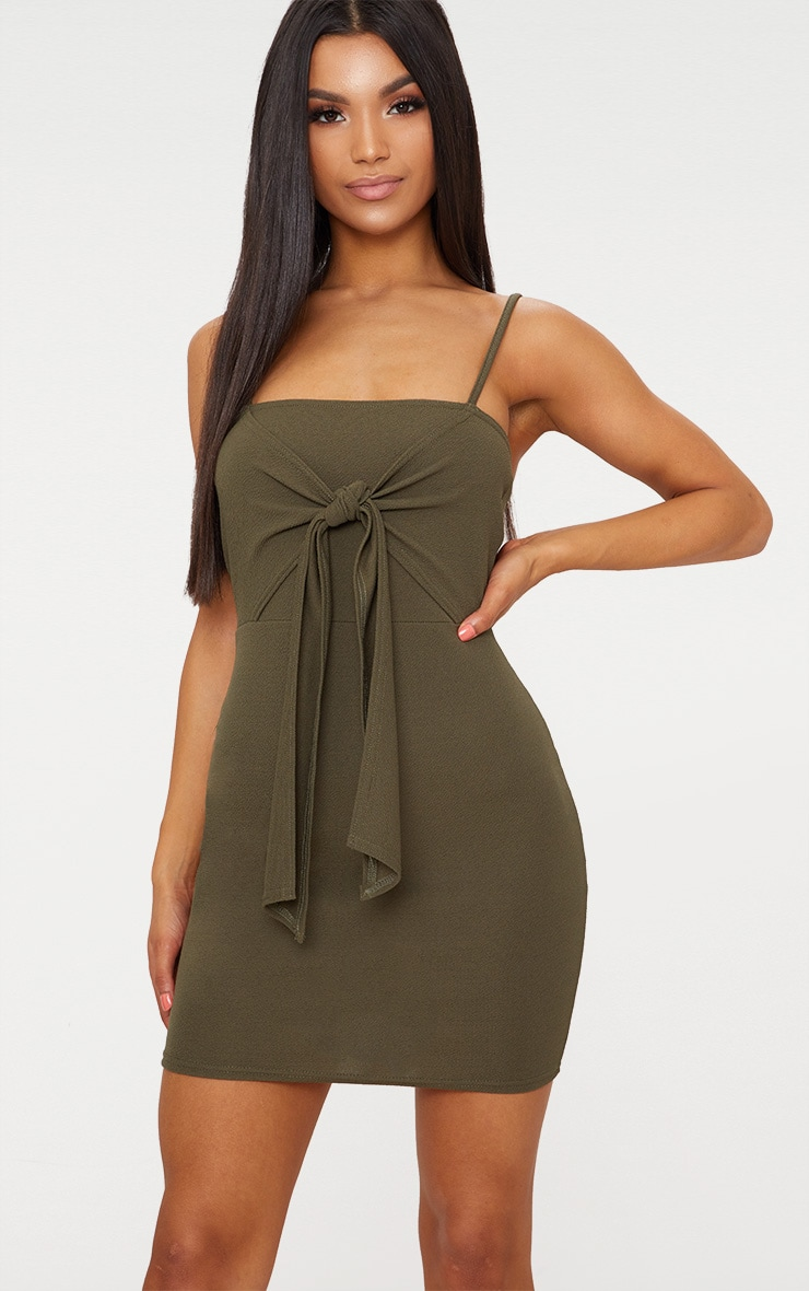 Khaki Strappy Tie Detail Bodycon Dress 1